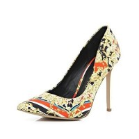 River Island Beige & Red Scarf Print Pointed Court Shoes